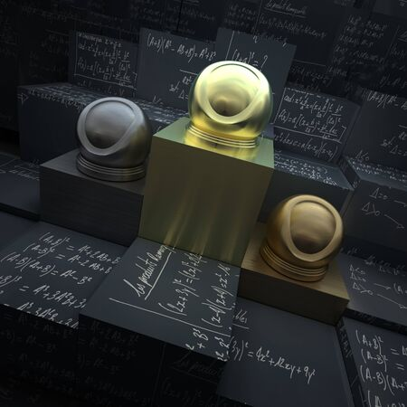 formulae: Trophies exposed in black blocks with chalked mathematical formulae