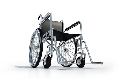 3D rendering of a black and chrome wheelchair on a white background Stock Photo - 4151997