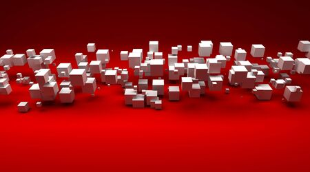 particles: 3D rendering of white cubic particles against a red background Stock Photo