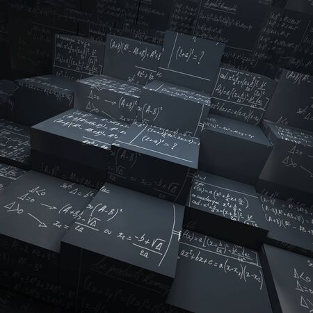 cor: 3D rendering of blocks made of blackboard with mathematical formulae written in chalk