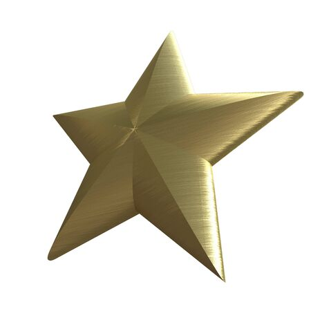 first class: 3D rendering of a golden star on a white background