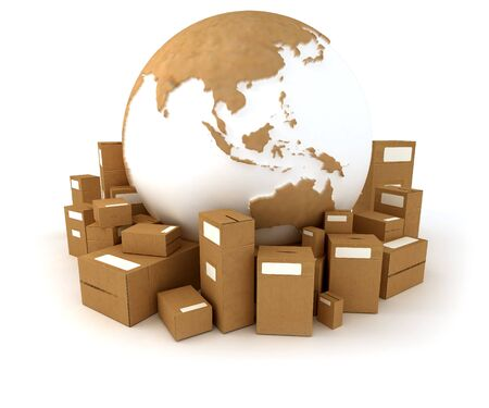 oriented: 3D rendering of the Earth ,Asia oriented, with a cardboard texture and a heap of cardboard boxes