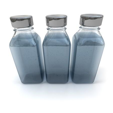 grigiastro: Rendering 3D di tre bottiglie con un po 'di nero e di un coperchio grigio fluido Archivio Fotografico