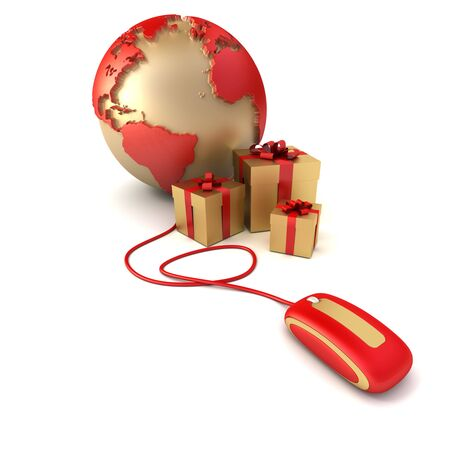 3D rendering of a world, surrounded by presents connected to a computer mouse in golden and red shades photo