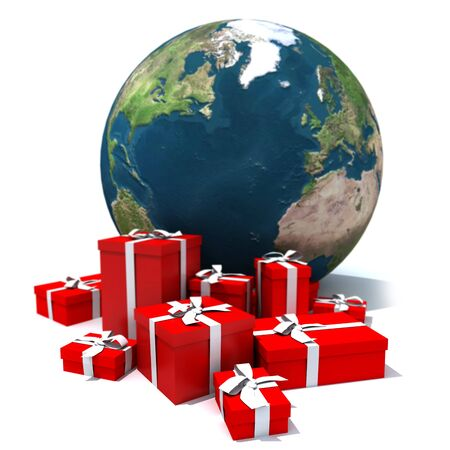 3D rendering of the Earth and a pile of presents photo