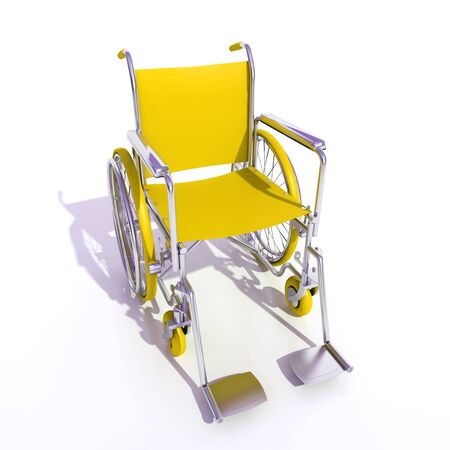 3D rendering of a yellow and chrome wheelchair on a white background Stock Photo - 4188310