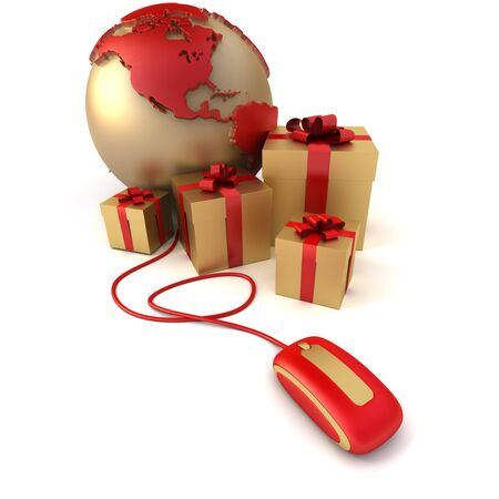 3D rendering of a world America oriented, surrounded by presents connected to a computer mouse in gold and red shades photo
