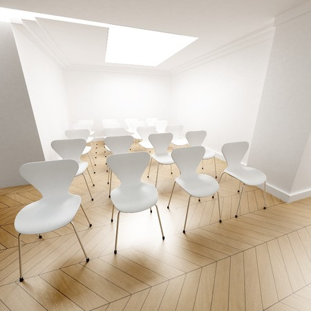 arranged: White chairs arranged in rows  Stock Photo