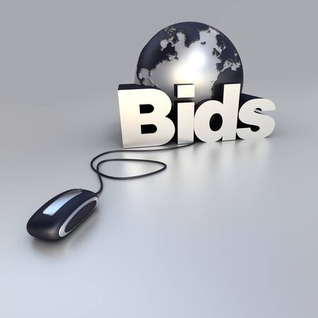3D-rendering of a world globe, a computer mouse and the word bid in blue and silver Stock Photo - 4306154
