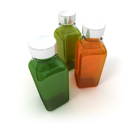 grooming product: 3D rendering of three ample bottles with green and orange liquids