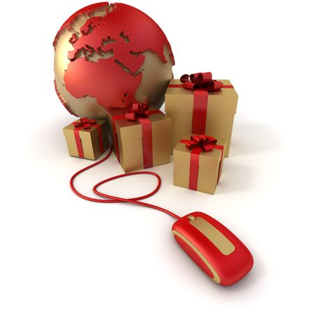 3D rendering of a world Europe oriented, surrounded by presents connected to a computer mouse in gold and red shades Stock Photo - 4335693