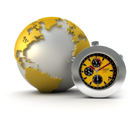 chronometer: 3D rendering of a chronometer and a world map