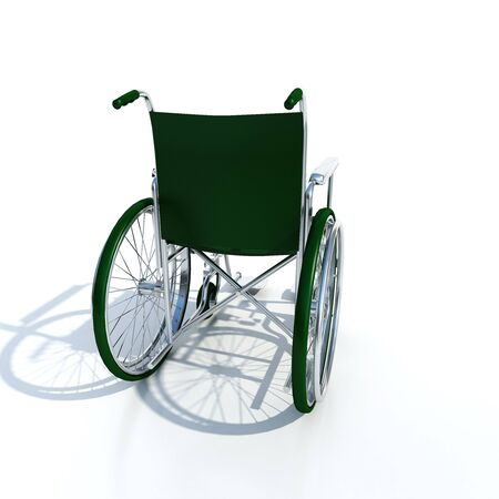 Wheel chair: 3D rendering of the back of a green and chrome wheelchair on a white background