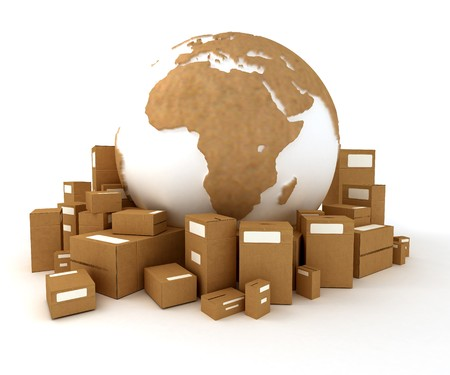 consignment: Cardboard textured world Europe oriented with a heap of packages  Stock Photo