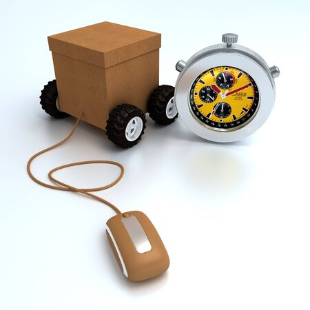 time frame: 3D rendering  of a cardboard box on wheels connected to a computer mouse and a chronometer