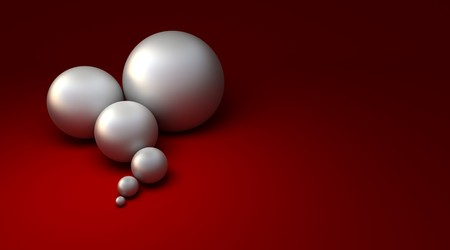 3D rendering of six pearls in different sizes against a red background Stock Photo - 4387566