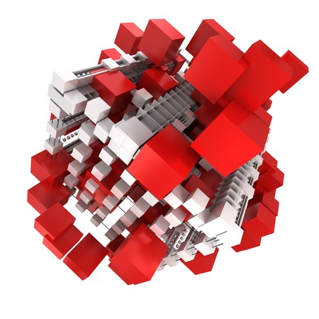 digitally generated: Abstract cubic structure built with red and white shapes Stock Photo