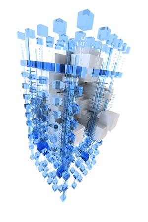 digitally generated: Abstract cubic structure built with blue and white shapes