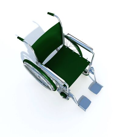 3D rendering of the back of a green and chrome wheelchair on a white background Stock Photo - 4406226