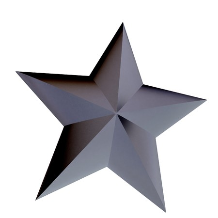high society: 3D rendering of a metallic star on a white background Stock Photo