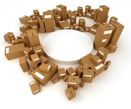 stockpiling: 3D rendering of a white circular platform surrounded by cardboard boxes