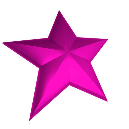 high society: 3D rendering of a bright pink star on a white background