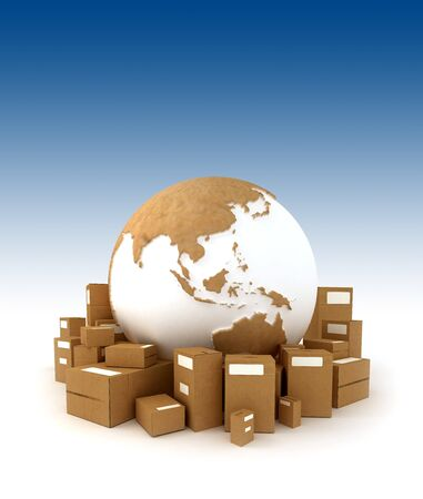 conveyance: The Earth oriented to Asia surrounded by packages