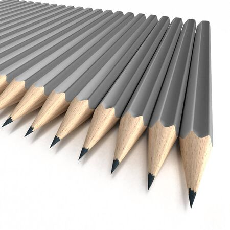 writing instrument: 3D rendering of a group of grey pencils neatly arranged