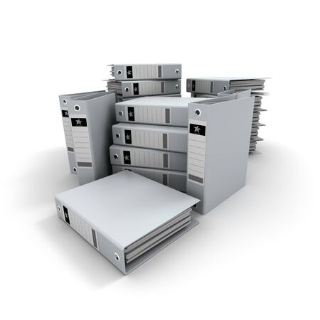 3D rendering of piles of white ring binders in disorder Stock Photo - 4466599