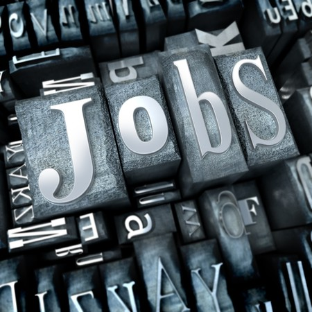 typescript: The word Jobs written with typescript letters among other characters Stock Photo