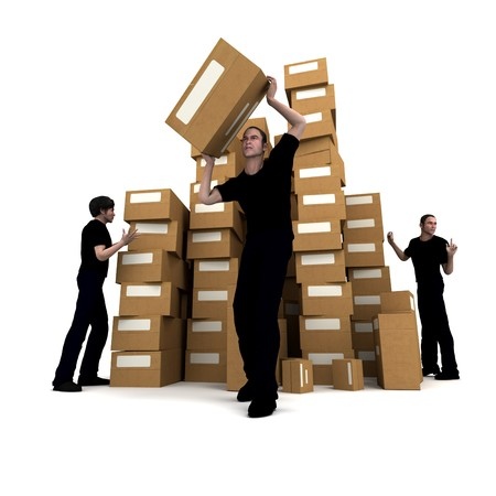 stockpiling: 3D rendering of piles of cardboard boxes and three workers Stock Photo