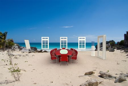 commercial event: Business meeting arrangements in the middle of an idyllic beach