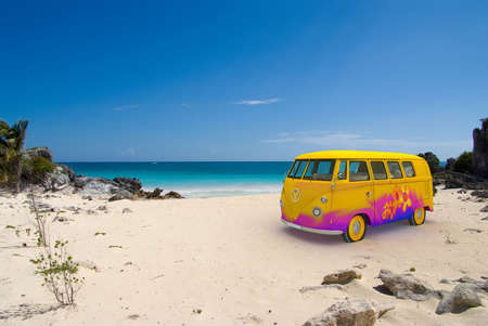 60s hippie: 3D rendering of a hippie van on a tropical beach