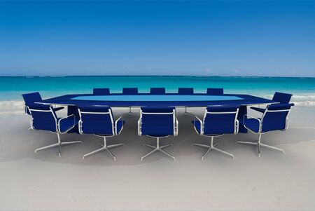 perks: 3D rendering  of a Meeting table and chairs in the water of a Caribbean beach