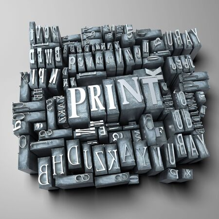 printing press: Word print in print letter cases  Stock Photo