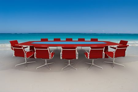 3D rendering  of a Meeting table and chairs in the water of a Caribbean beach Stock Photo - 4928409