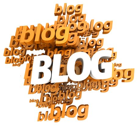 weblog: orange and white 3D illustration with the word blog repeated  in different shades Stock Photo