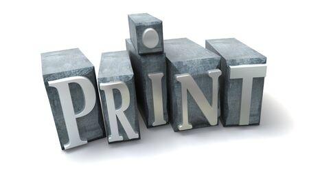 western script: 3D rendering of the word print written in print letter cases
