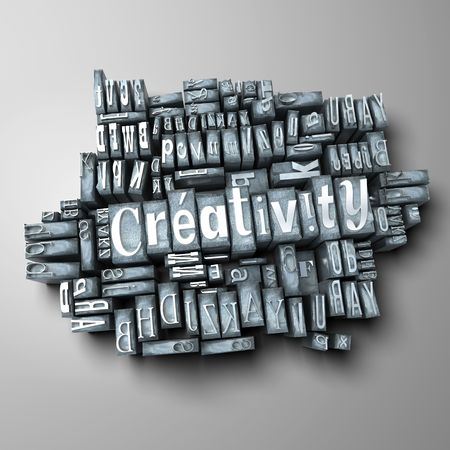 western script: The word creativity in print letter cases Stock Photo