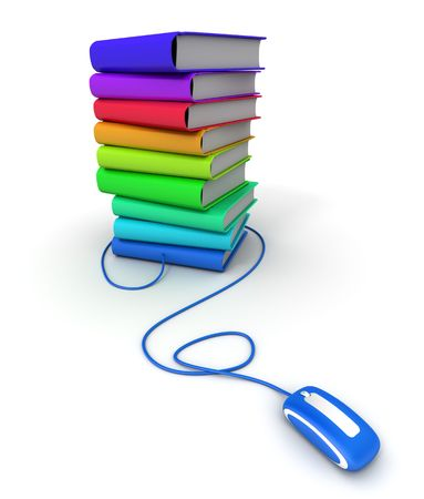 3D rendering of a pile of multicolored books connected to a computer mouse photo