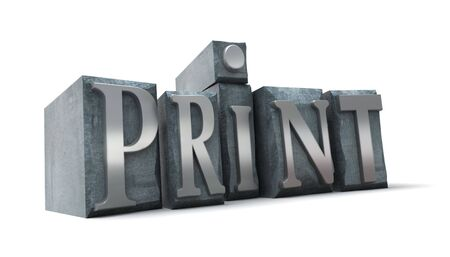 3D rendering of the word print written in print letter cases photo