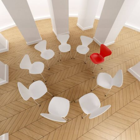 therapy group: 3D rendering of a circle of white chairs and a red one