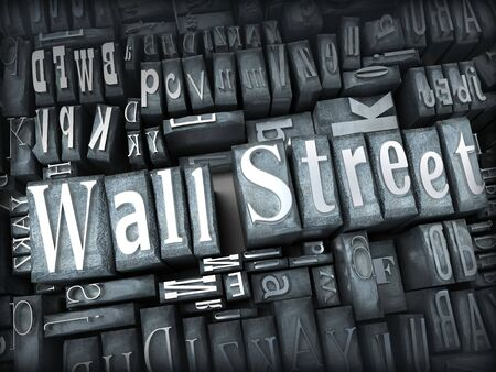The words Wall Street written in print letter cases photo