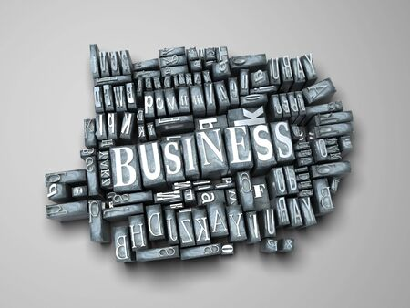 western script: The word business in print letter cases Stock Photo