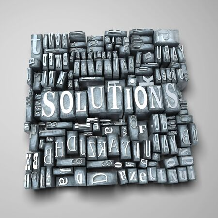 western script: The word solutions written in print letter cases