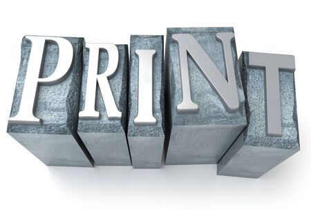 lithograph: 3D rendering of the word print written in print letter cases