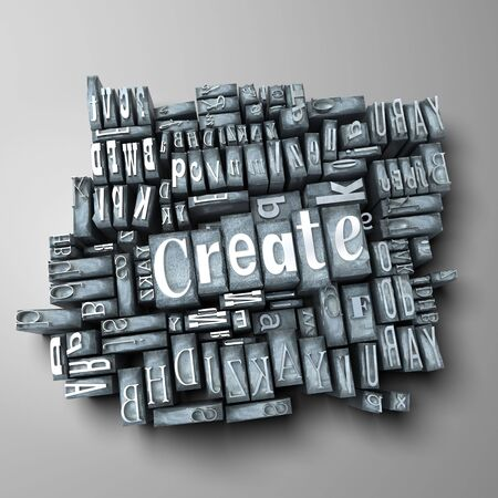 western script: The word create in print letter cases Stock Photo