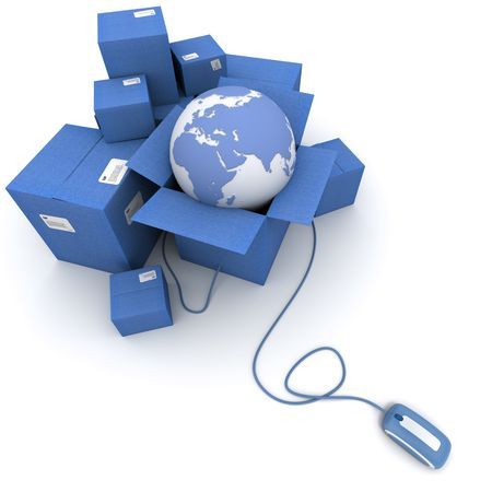 3d mouse: 3D rendering of a pile of blue cartons with a world map connected to a computer mouse