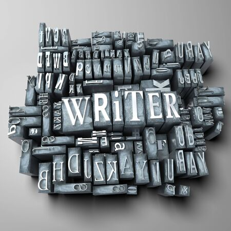 writing western: The word writer in print letter cases