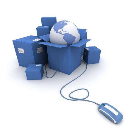 consignment: 3D rendering of a pile of blue cartons with a world map connected to a computer mouse